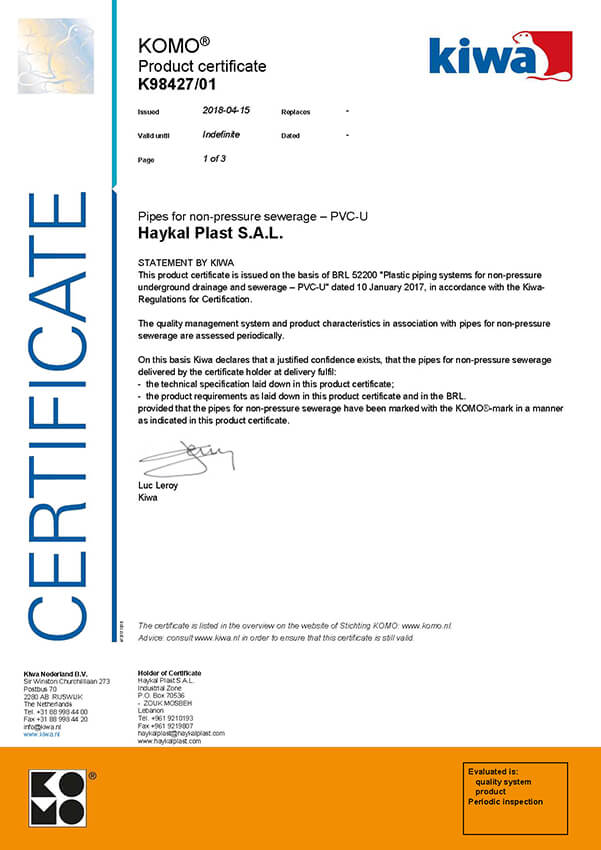 Haykal Plast KOMO Production Certificate K98427/01 - Pipes for Non-Pressure Sewerage - PCV-U
