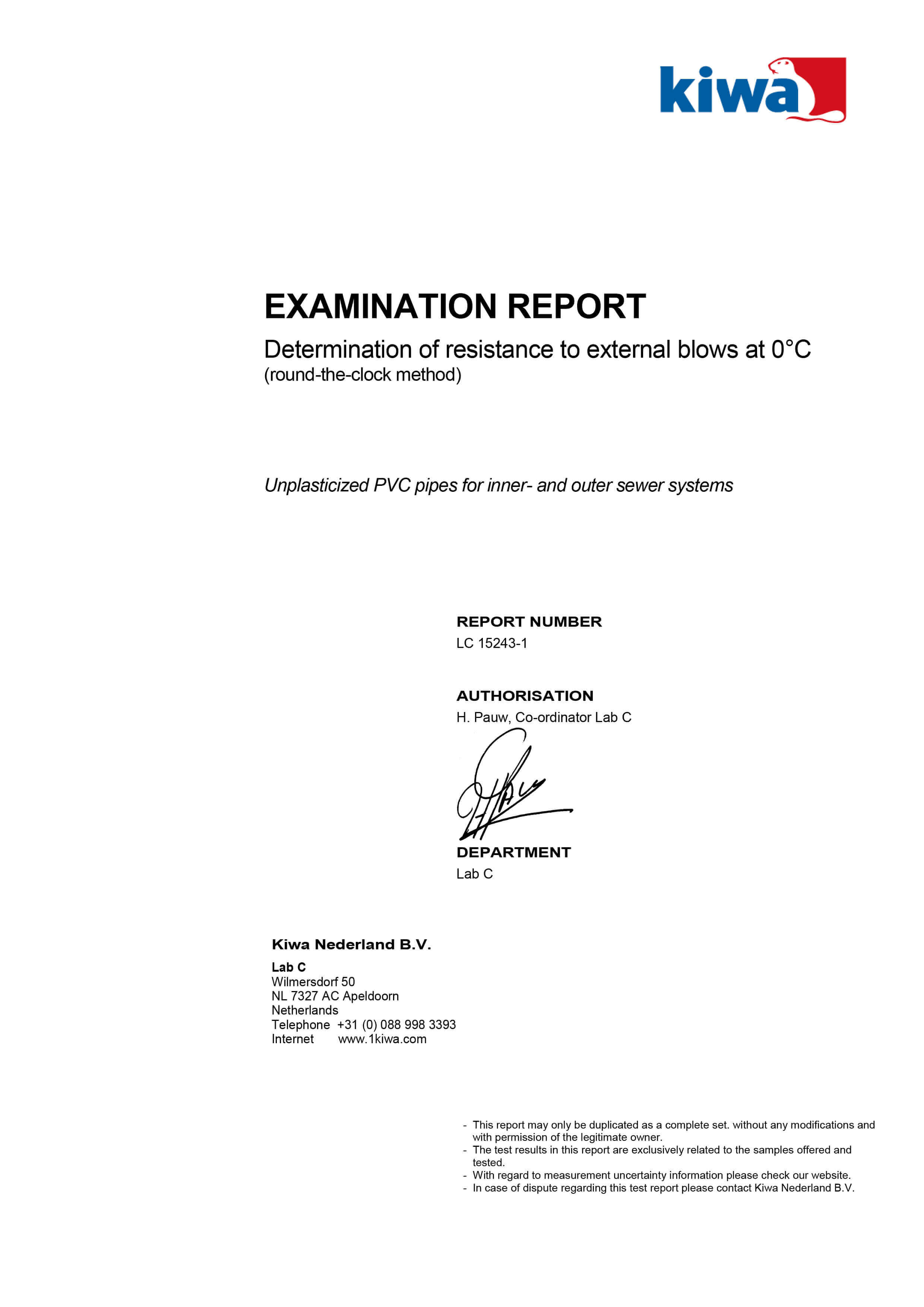 Haykal Plast Examination Report - Determination of resistance to external blows at 0 degrees C - 1