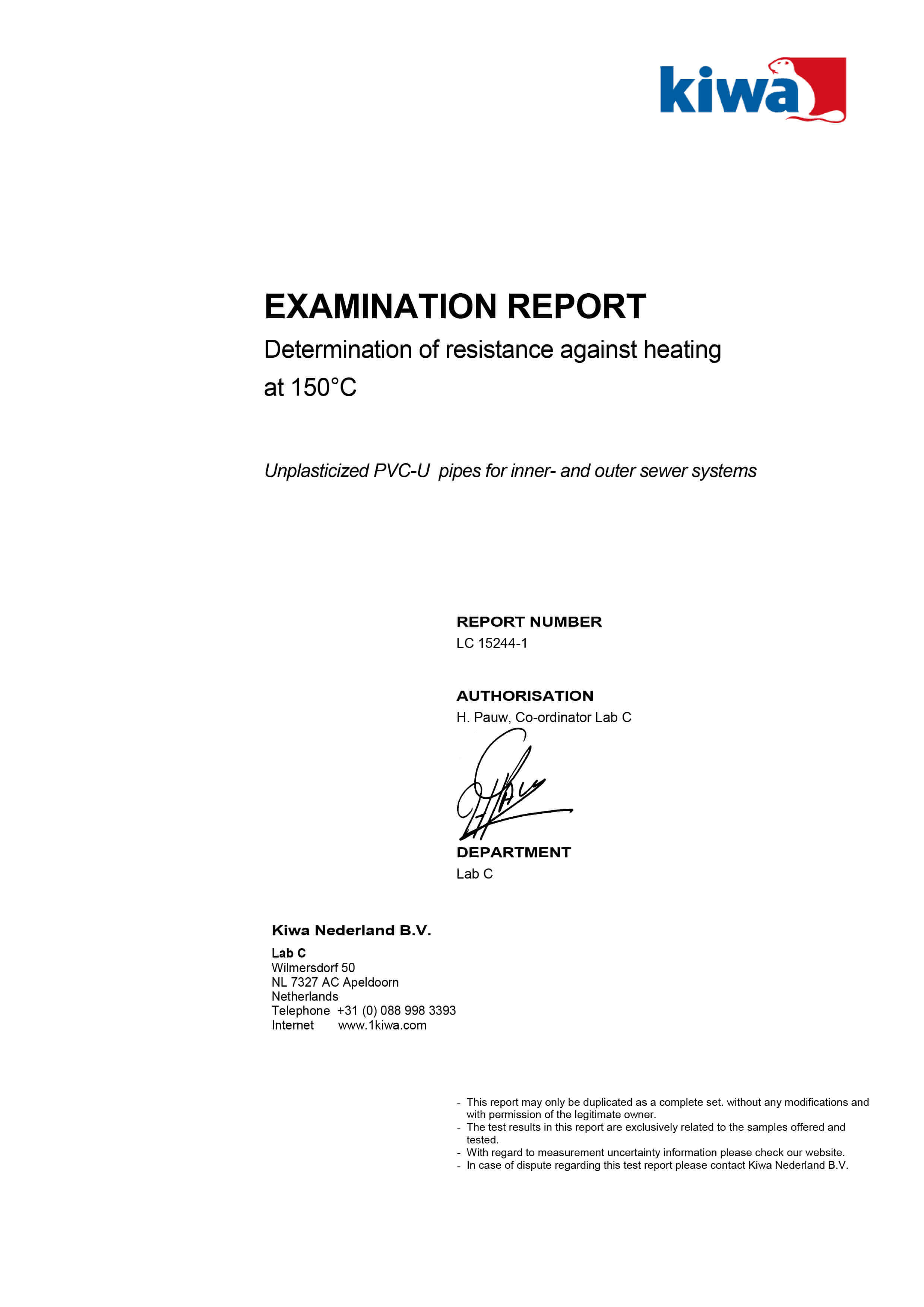 Haykal Plast Examination Report - Determination of resistance against heading at 150 degrees C - 1